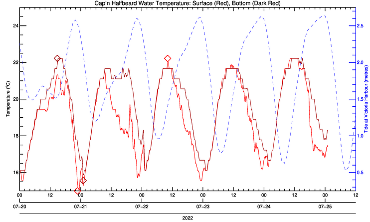 Gorge temperature graph from SMUS dock
