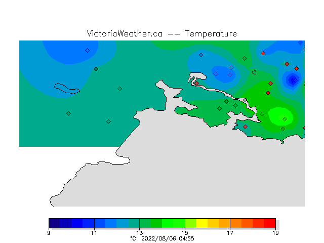 This figure shows current observations at all stations in Victoria.
